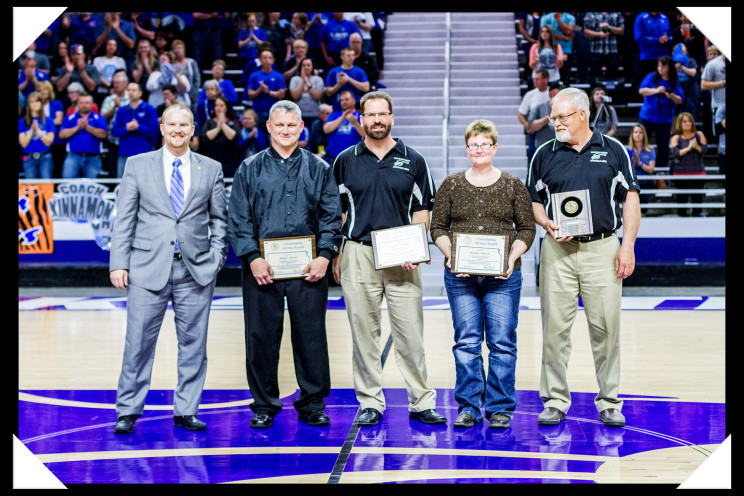Sports official recognition at the 2015 2A Kansas State Basketball Tournament.